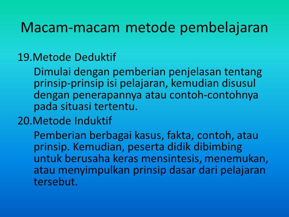 Macam-macam metode pembelajaran 19.Metode Deduktif Dimulai dengan pemberian penjelasan tentang prinsip-prinsip isi pelajaran, kemudian disusul dengan