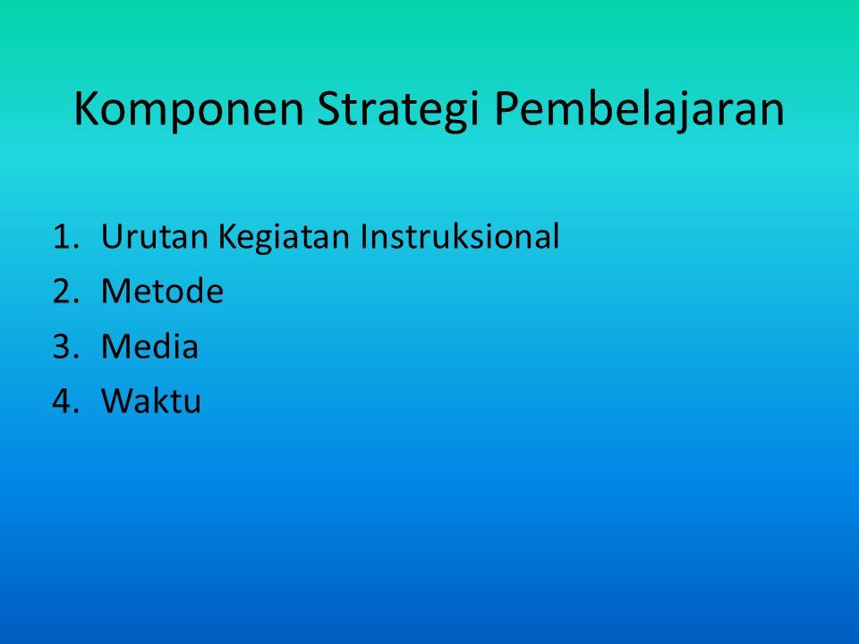 Komponen Strategi Pembelajaran 1.Urutan Kegiatan Instruksional 2.Metode 3.Media 4.Waktu