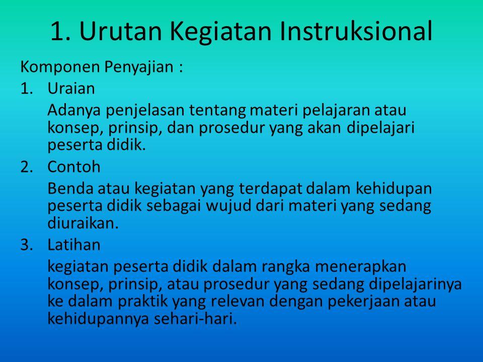 1. Urutan Kegiatan Instruksional Komponen Penyajian : 1.Uraian Adanya penjelasan tentang materi pelajaran atau konsep, prinsip, dan prosedur yang akan