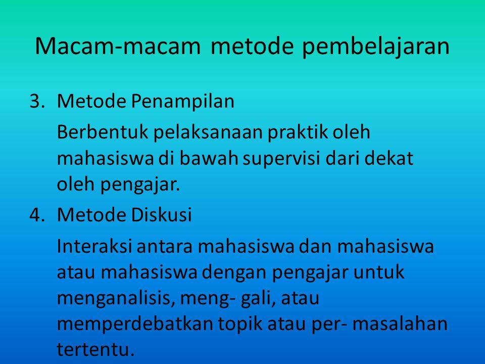 Macam-macam metode pembelajaran 3. Metode Penampilan Berbentuk pelaksanaan praktik oleh mahasiswa di bawah supervisi dari dekat oleh pengajar. 4.Metod