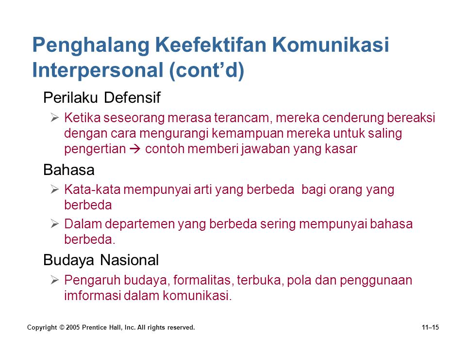 Copyright © 2005 Prentice Hall, Inc. All rights reserved.11–15 Penghalang Keefektifan Komunikasi Interpersonal (cont'd) •Perilaku Defensif  Ketika se