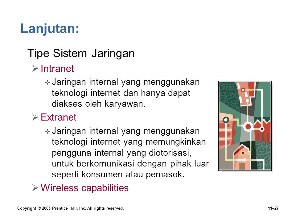 Copyright © 2005 Prentice Hall, Inc. All rights reserved.11–27 Lanjutan: •Tipe Sistem Jaringan  Intranet  Jaringan internal yang menggunakan teknolo