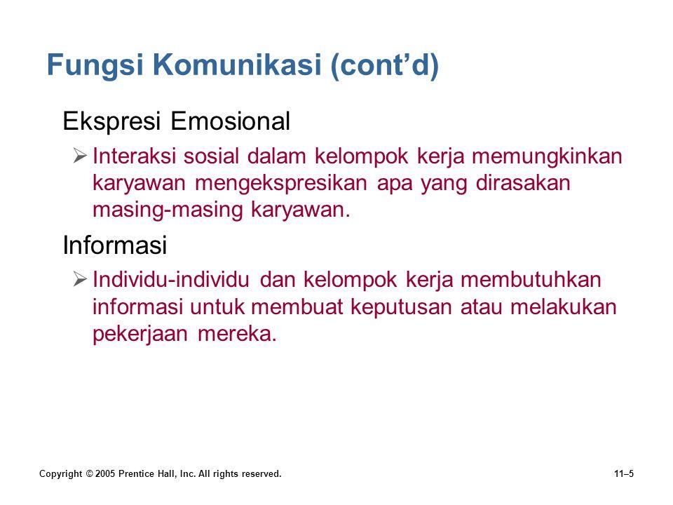 Copyright © 2005 Prentice Hall, Inc. All rights reserved.11–5 Fungsi Komunikasi (cont'd) •Ekspresi Emosional  Interaksi sosial dalam kelompok kerja m