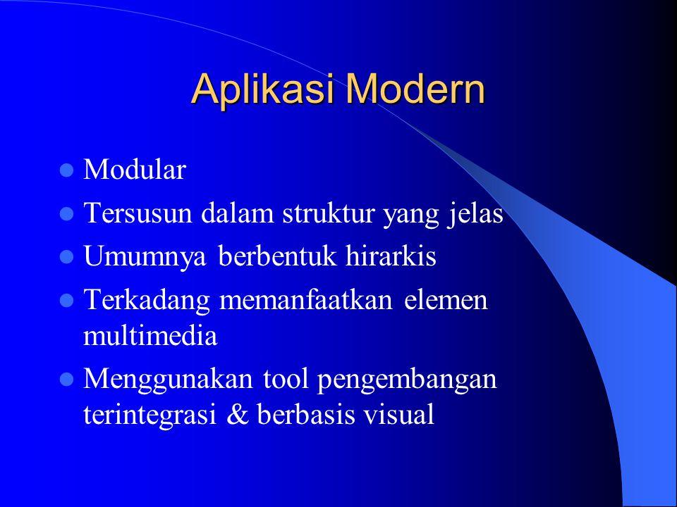 Aplikasi Modern  Modular  Tersusun dalam struktur yang jelas  Umumnya berbentuk hirarkis  Terkadang memanfaatkan elemen multimedia  Menggunakan t