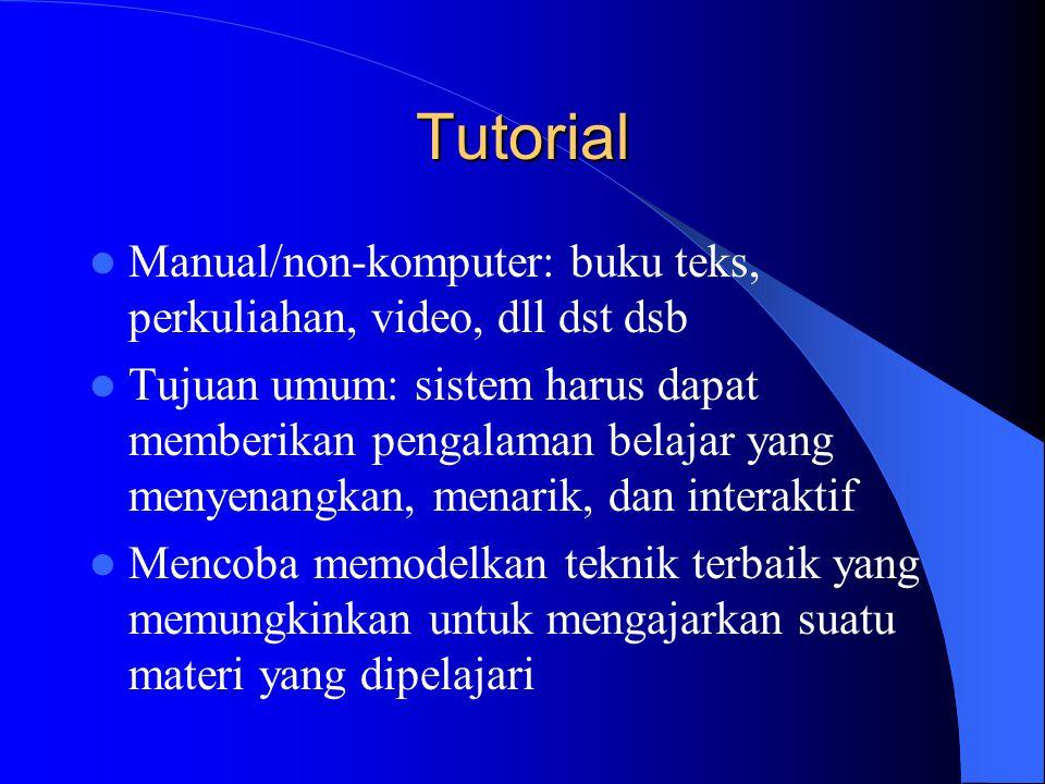 Tutorial  Manual/non-komputer: buku teks, perkuliahan, video, dll dst dsb  Tujuan umum: sistem harus dapat memberikan pengalaman belajar yang menyen