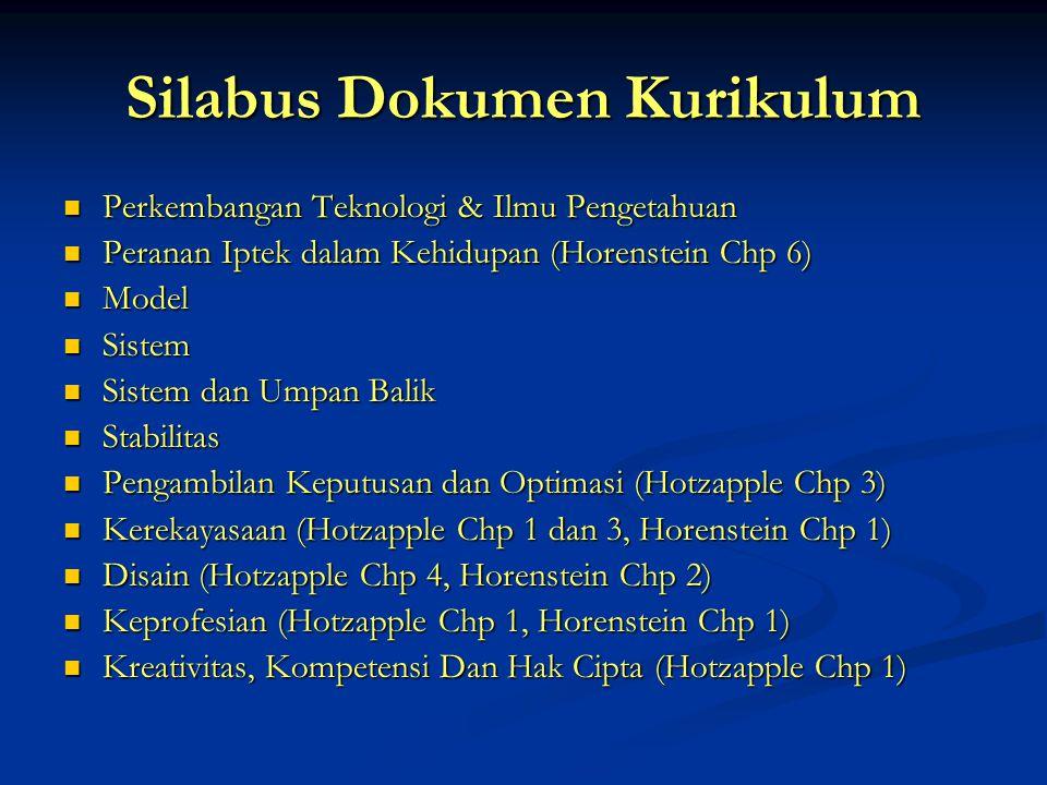 Silabus Dokumen Kurikulum  Perkembangan Teknologi & Ilmu Pengetahuan  Peranan Iptek dalam Kehidupan (Horenstein Chp 6)  Model  Sistem  Sistem dan Umpan Balik  Stabilitas  Pengambilan Keputusan dan Optimasi (Hotzapple Chp 3)  Kerekayasaan (Hotzapple Chp 1 dan 3, Horenstein Chp 1)  Disain (Hotzapple Chp 4, Horenstein Chp 2)  Keprofesian (Hotzapple Chp 1, Horenstein Chp 1)  Kreativitas, Kompetensi Dan Hak Cipta (Hotzapple Chp 1)
