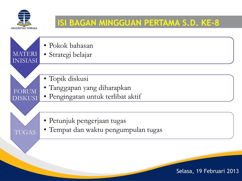 Selasa, 19 Februari 2013 ISI BAGAN MINGGUAN PERTAMA S.D. KE-8 MATERI INISIASI •Pokok bahasan •Strategi belajar FORUM DISKUSI •Topik diskusi •Tanggapan