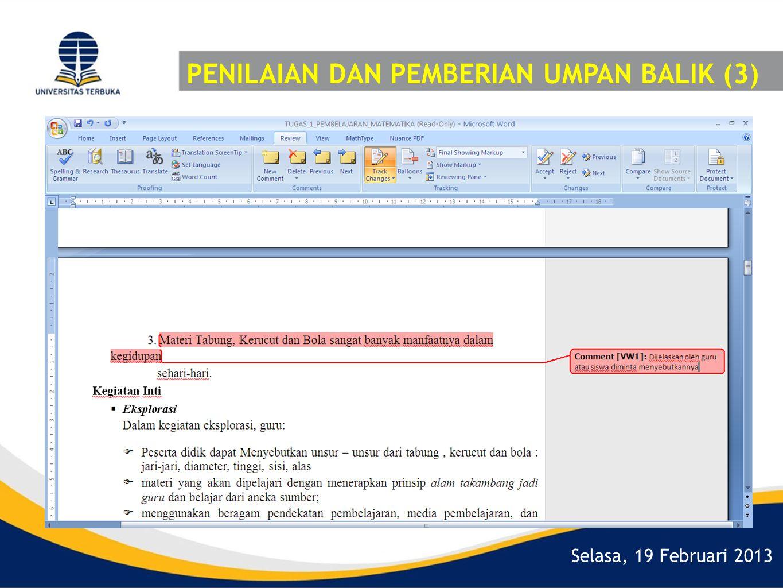 Selasa, 19 Februari 2013 PENILAIAN DAN PEMBERIAN UMPAN BALIK (3)