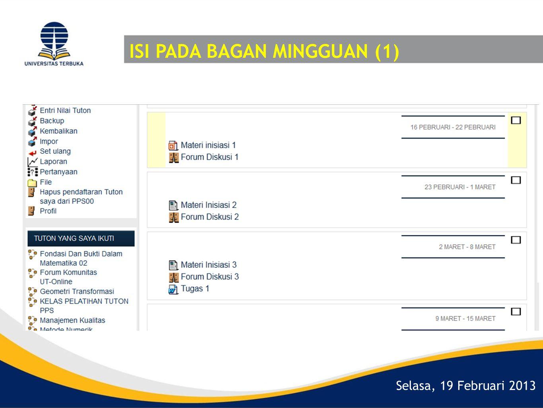 Selasa, 19 Februari 2013 ISI PADA BAGAN MINGGUAN (1)