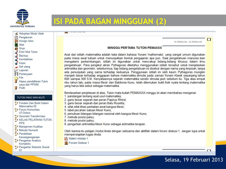 Selasa, 19 Februari 2013 ISI PADA BAGAN MINGGUAN (2)