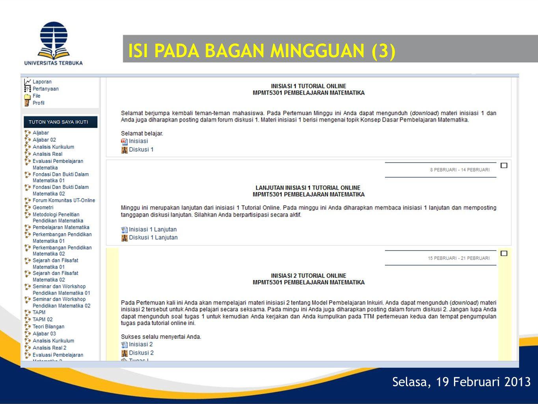 Selasa, 19 Februari 2013 ISI PADA BAGAN MINGGUAN (3)