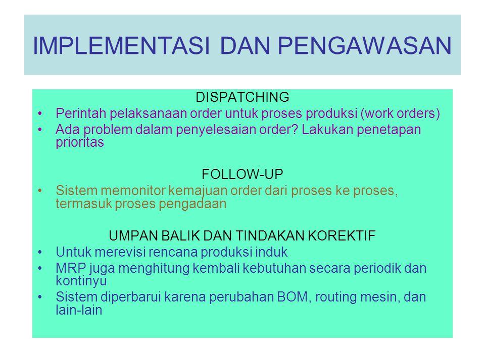 IMPLEMENTASI DAN PENGAWASAN DISPATCHING •Perintah pelaksanaan order untuk proses produksi (work orders) •Ada problem dalam penyelesaian order? Lakukan