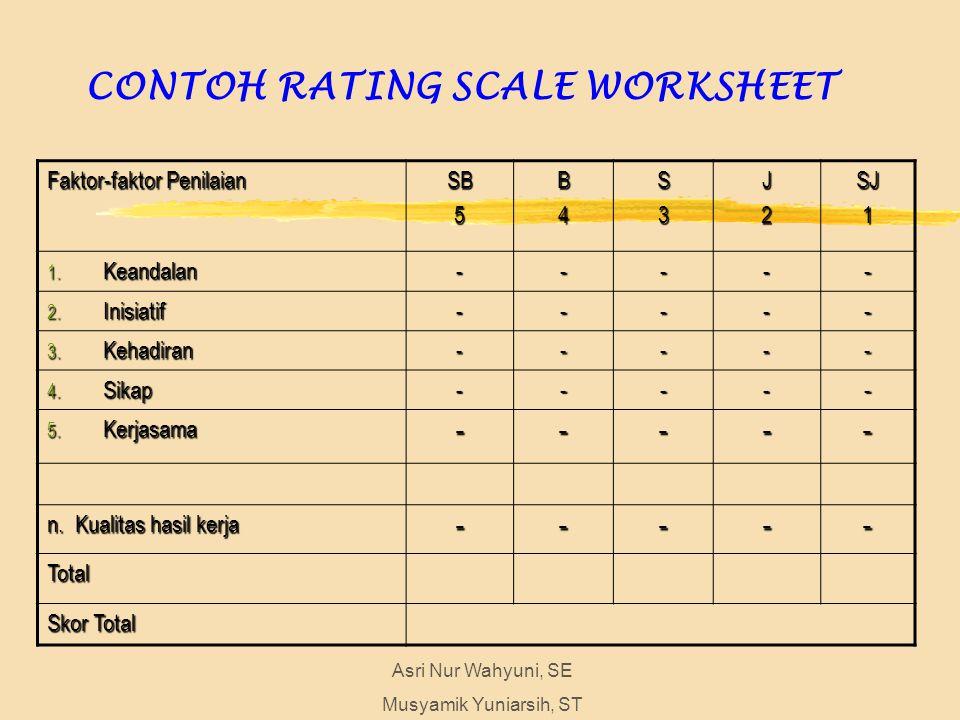 CONTOH RATING SCALE WORKSHEET Asri Nur Wahyuni, SE Musyamik Yuniarsih, ST Faktor-faktor Penilaian SB5B4S3J2SJ1 1.