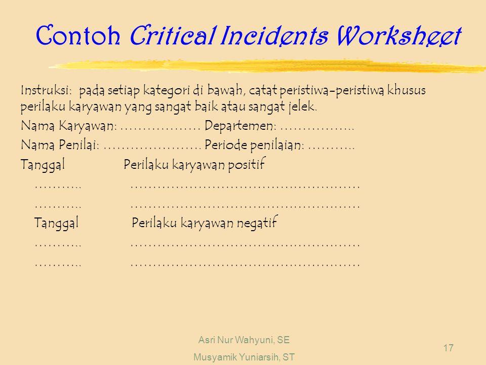 Asri Nur Wahyuni, SE Musyamik Yuniarsih, ST 17 Contoh Critical Incidents Worksheet Instruksi: pada setiap kategori di bawah, catat peristiwa-peristiwa khusus perilaku karyawan yang sangat baik atau sangat jelek.