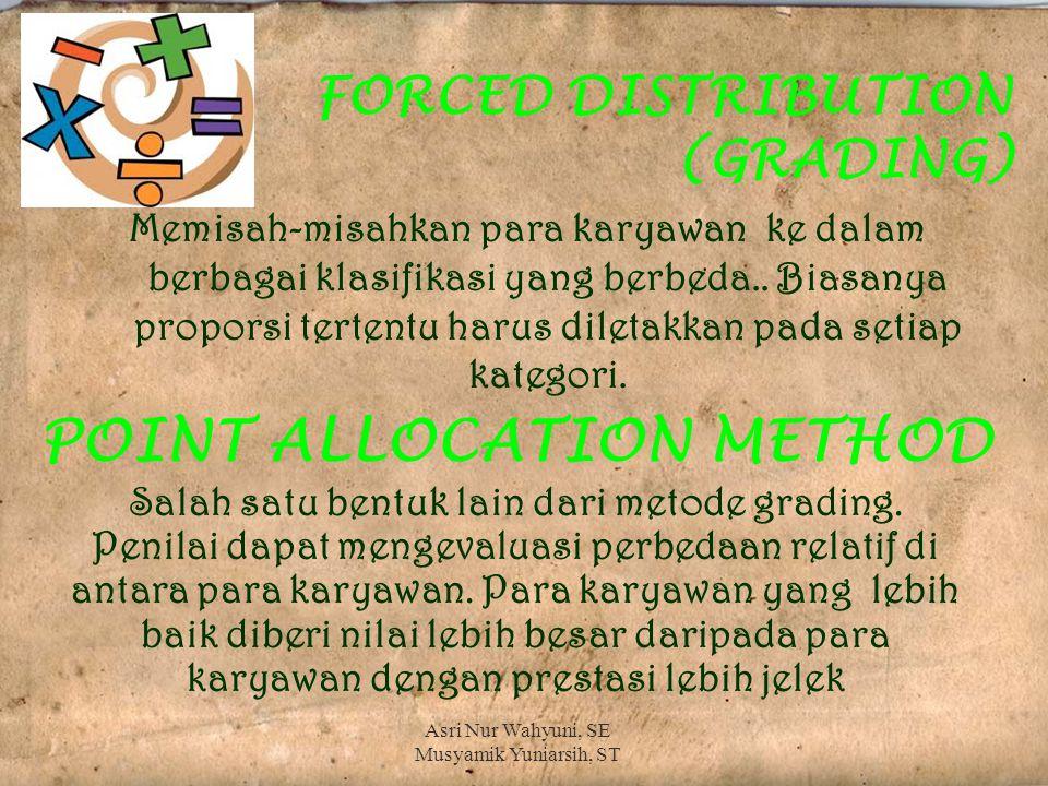 FORCED DISTRIBUTION (GRADING) Memisah-misahkan para karyawan ke dalam berbagai klasifikasi yang berbeda..