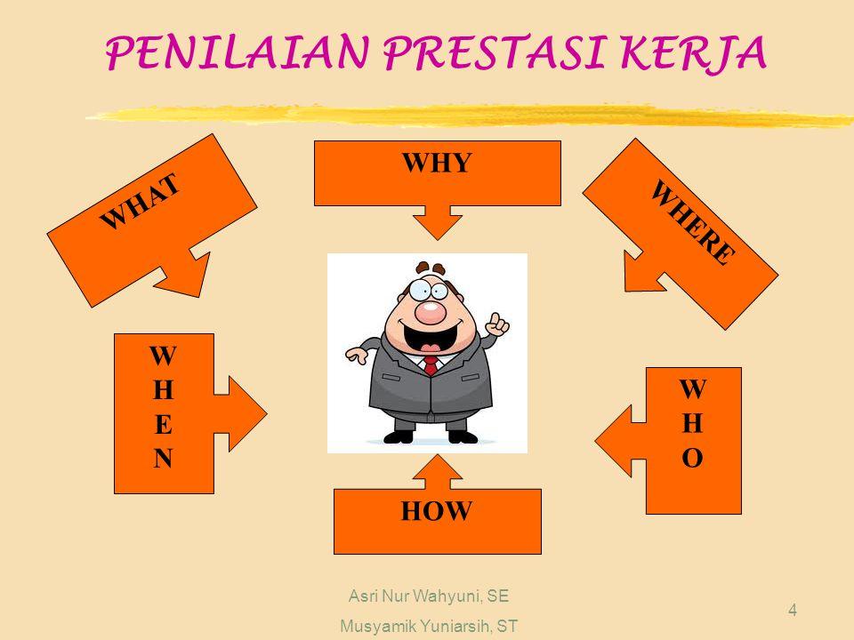 PENILAIAN PRESTASI KERJA Asri Nur Wahyuni, SE Musyamik Yuniarsih, ST 4 WHAT WHY WHERE WHENWHEN WHOWHO HOW