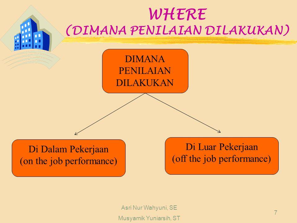 Asri Nur Wahyuni, SE Musyamik Yuniarsih, ST 7 WHERE (DIMANA PENILAIAN DILAKUKAN) DIMANA PENILAIAN DILAKUKAN Di Dalam Pekerjaan (on the job performance) Di Luar Pekerjaan (off the job performance)