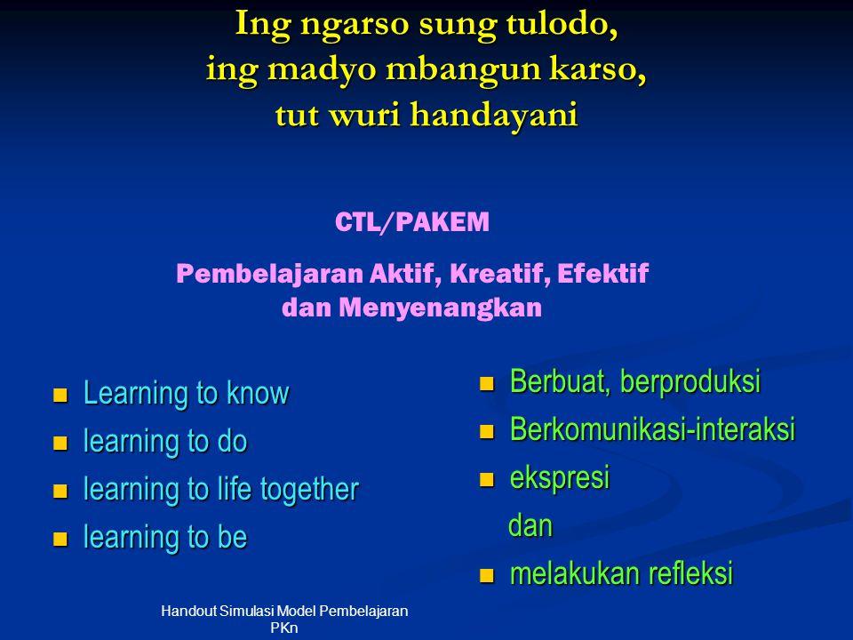 Ing ngarso sung tulodo, ing madyo mbangun karso, tut wuri handayani  Learning to know  learning to do  learning to life together  learning to be 