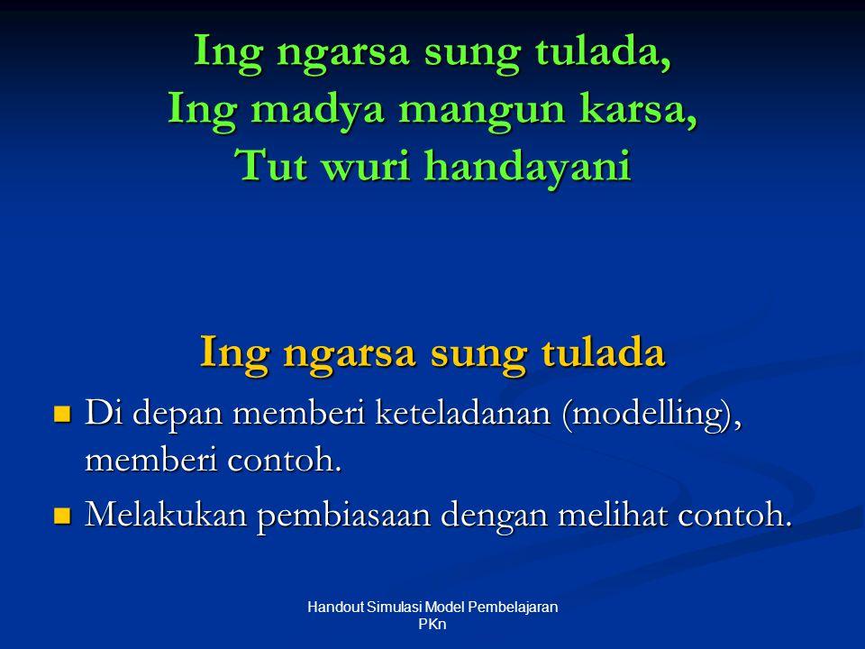 Ing ngarsa sung tulada, Ing madya mangun karsa, Tut wuri handayani Ing ngarsa sung tulada  Di depan memberi keteladanan (modelling), memberi contoh.