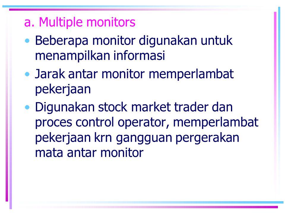 a. Multiple monitors •Beberapa monitor digunakan untuk menampilkan informasi •Jarak antar monitor memperlambat pekerjaan •Digunakan stock market trade