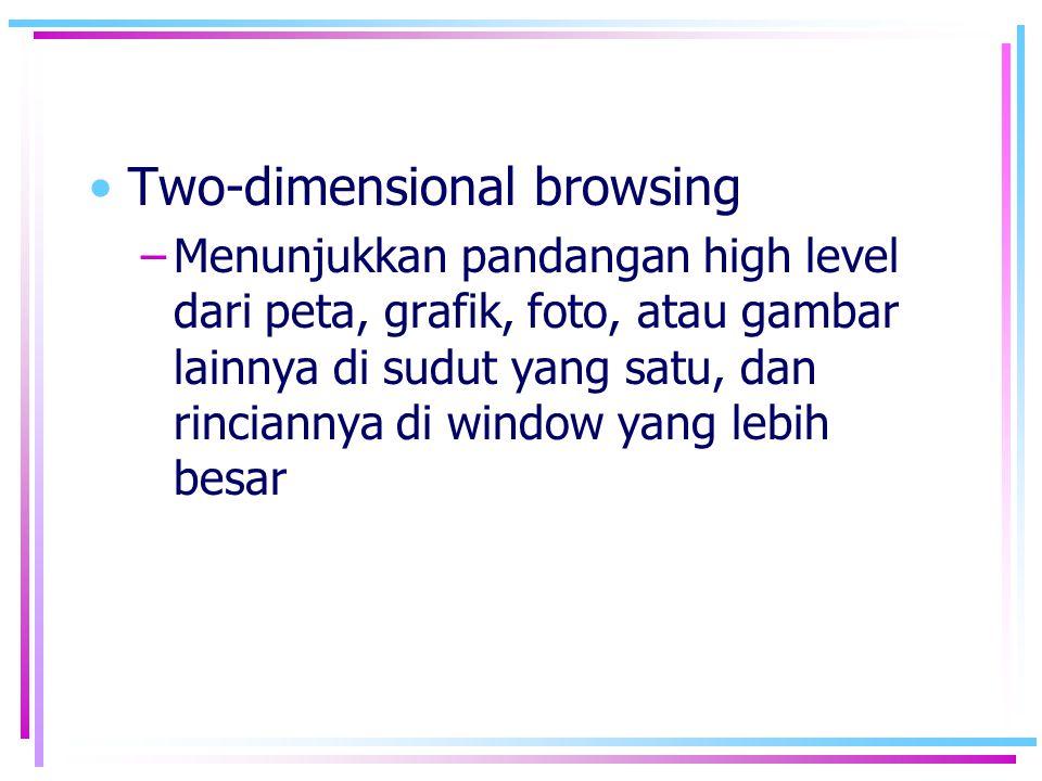 •Two-dimensional browsing –Menunjukkan pandangan high level dari peta, grafik, foto, atau gambar lainnya di sudut yang satu, dan rinciannya di window