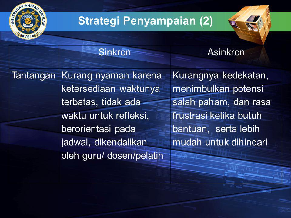 Strategi Penyampaian (2) SinkronAsinkron TantanganKurang nyaman karena ketersediaan waktunya terbatas, tidak ada waktu untuk refleksi, berorientasi pa