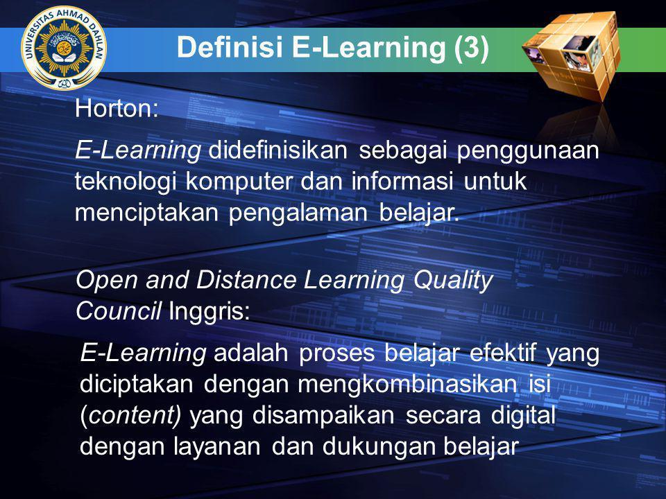 Definisi E-Learning (4) Pengertian E-learning sering dihubungkan dengan penggunaan secara intensif teknologi jaringan informasi dan komunikasi dalam proses belajar dan mengajar termasuk di dalamnya adalah online learning, virtual learning, distributed learning, network dan web-based learning, atau secara fundamental merujuk pada proses-proses pendidikan yang memanfaatkan teknologi informasi dan komunikasi untuk memediasi aktivitas belajar dan mengajar secara synchronous maupun asynchronus