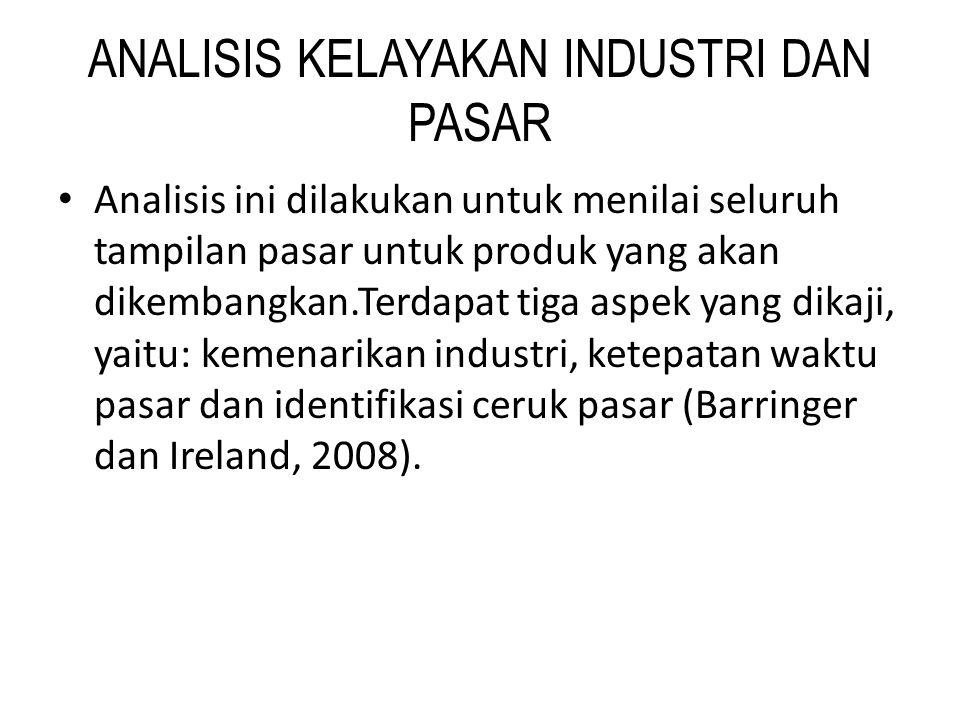 ANALISIS KELAYAKAN INDUSTRI DAN PASAR • Analisis ini dilakukan untuk menilai seluruh tampilan pasar untuk produk yang akan dikembangkan.Terdapat tiga