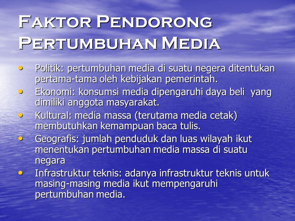 Faktor Pendorong Pertumbuhan Media • Politik: pertumbuhan media di suatu negera ditentukan pertama-tama oleh kebijakan pemerintah. • Ekonomi: konsumsi