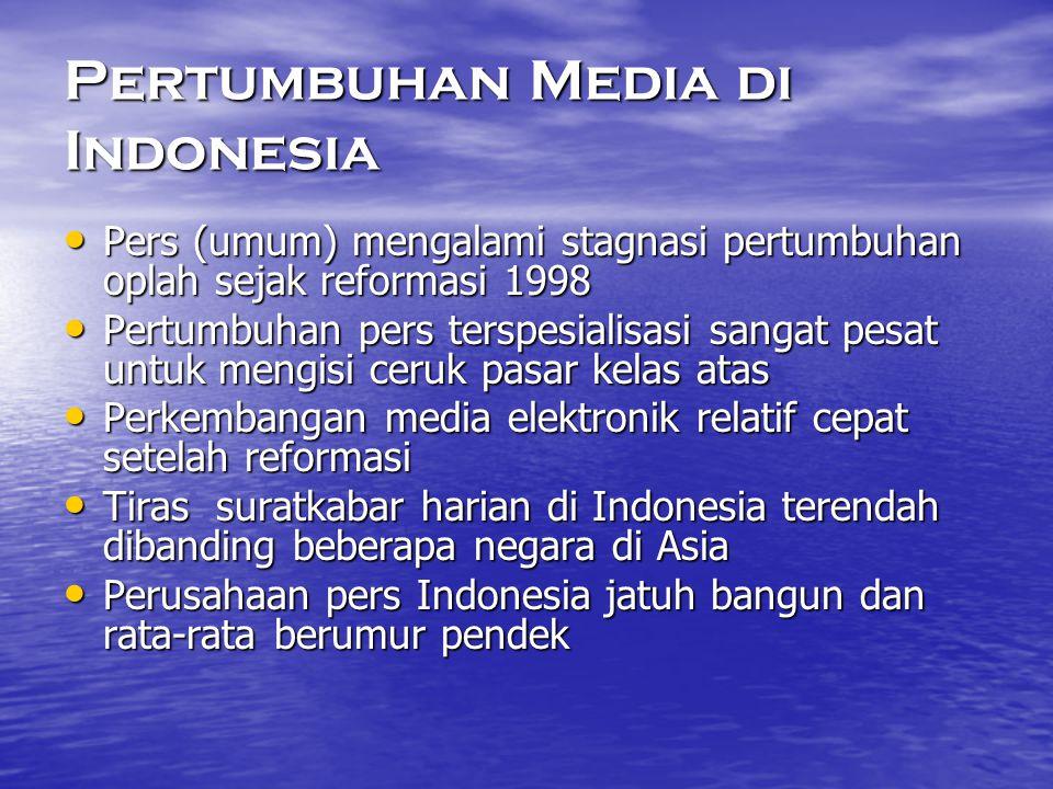 Pertumbuhan Media di Indonesia • Pers (umum) mengalami stagnasi pertumbuhan oplah sejak reformasi 1998 • Pertumbuhan pers terspesialisasi sangat pesat