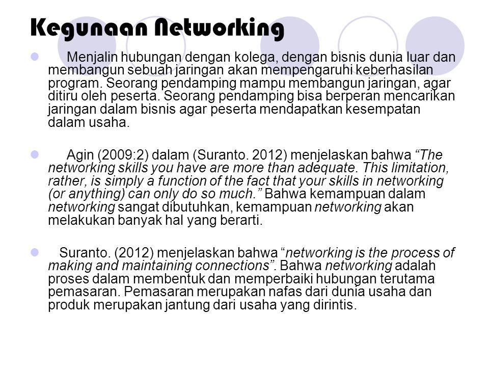 Kegunaan Networking  Menjalin hubungan dengan kolega, dengan bisnis dunia luar dan membangun sebuah jaringan akan mempengaruhi keberhasilan program.