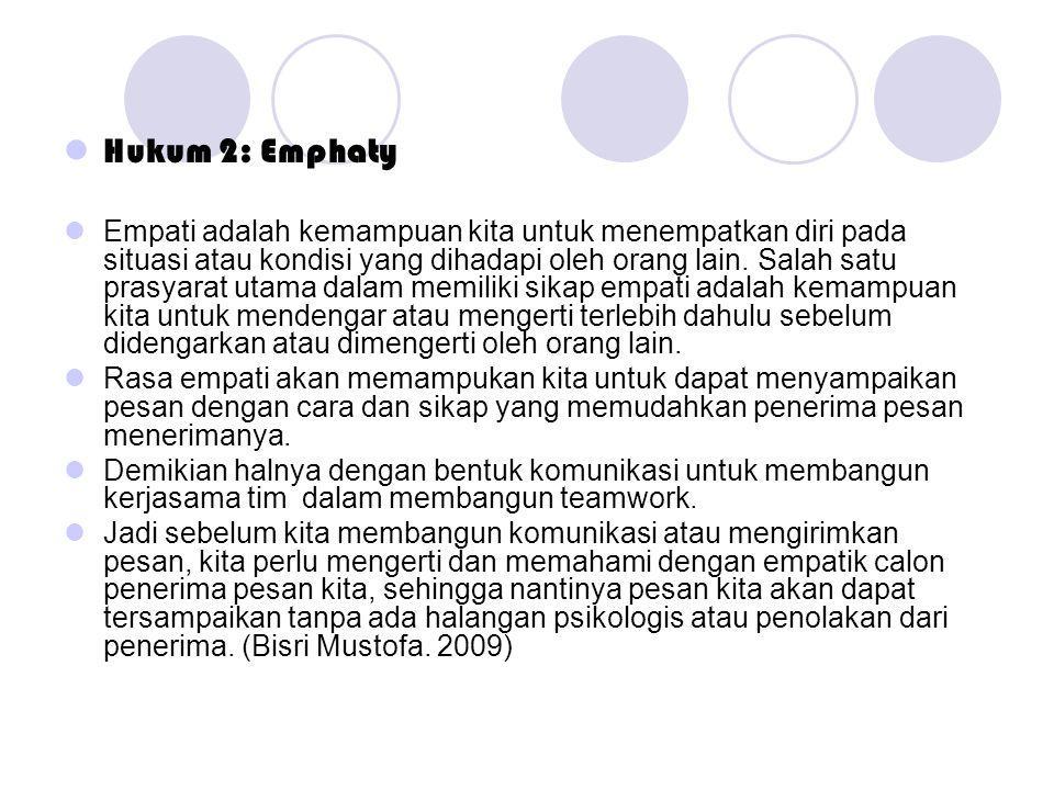  Hukum 2: Emphaty  Empati adalah kemampuan kita untuk menempatkan diri pada situasi atau kondisi yang dihadapi oleh orang lain. Salah satu prasyarat