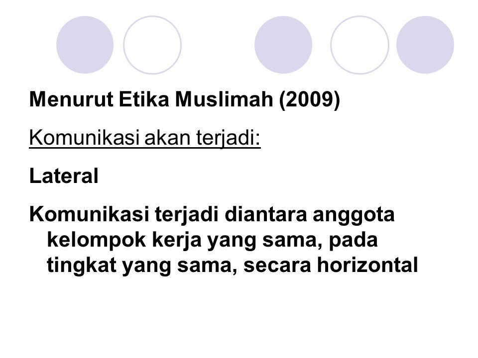 Menurut Etika Muslimah (2009) Komunikasi akan terjadi: Lateral Komunikasi terjadi diantara anggota kelompok kerja yang sama, pada tingkat yang sama, s