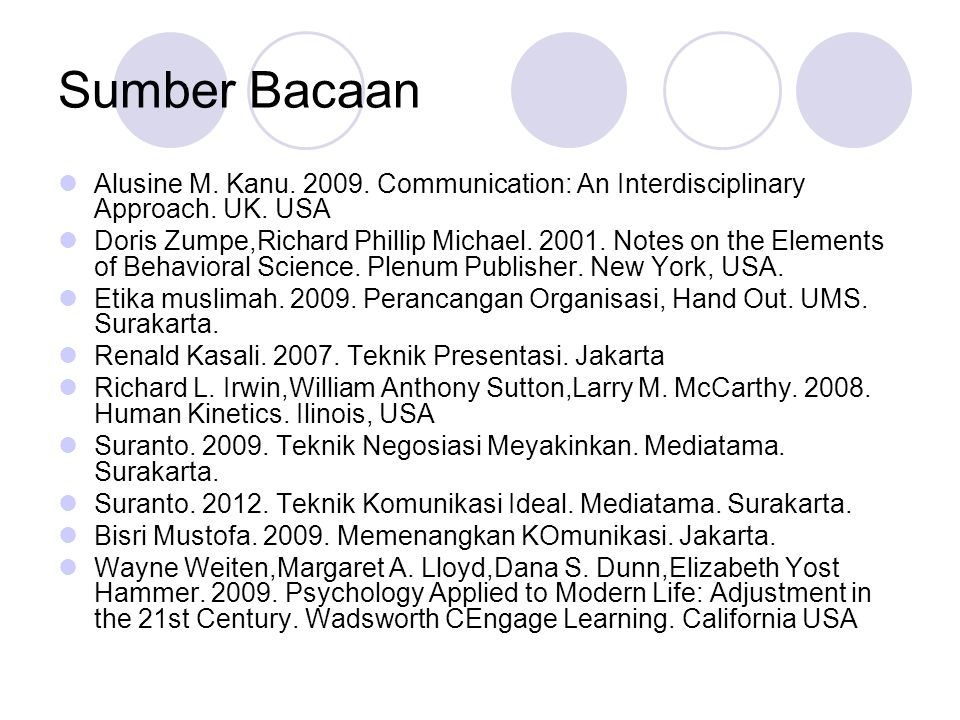 Sumber Bacaan  Alusine M. Kanu. 2009. Communication: An Interdisciplinary Approach. UK. USA  Doris Zumpe,Richard Phillip Michael. 2001. Notes on the