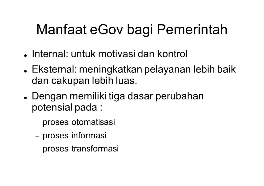 Manfaat eGov bagi Pemerintah  Internal: untuk motivasi dan kontrol  Eksternal: meningkatkan pelayanan lebih baik dan cakupan lebih luas.  Dengan me