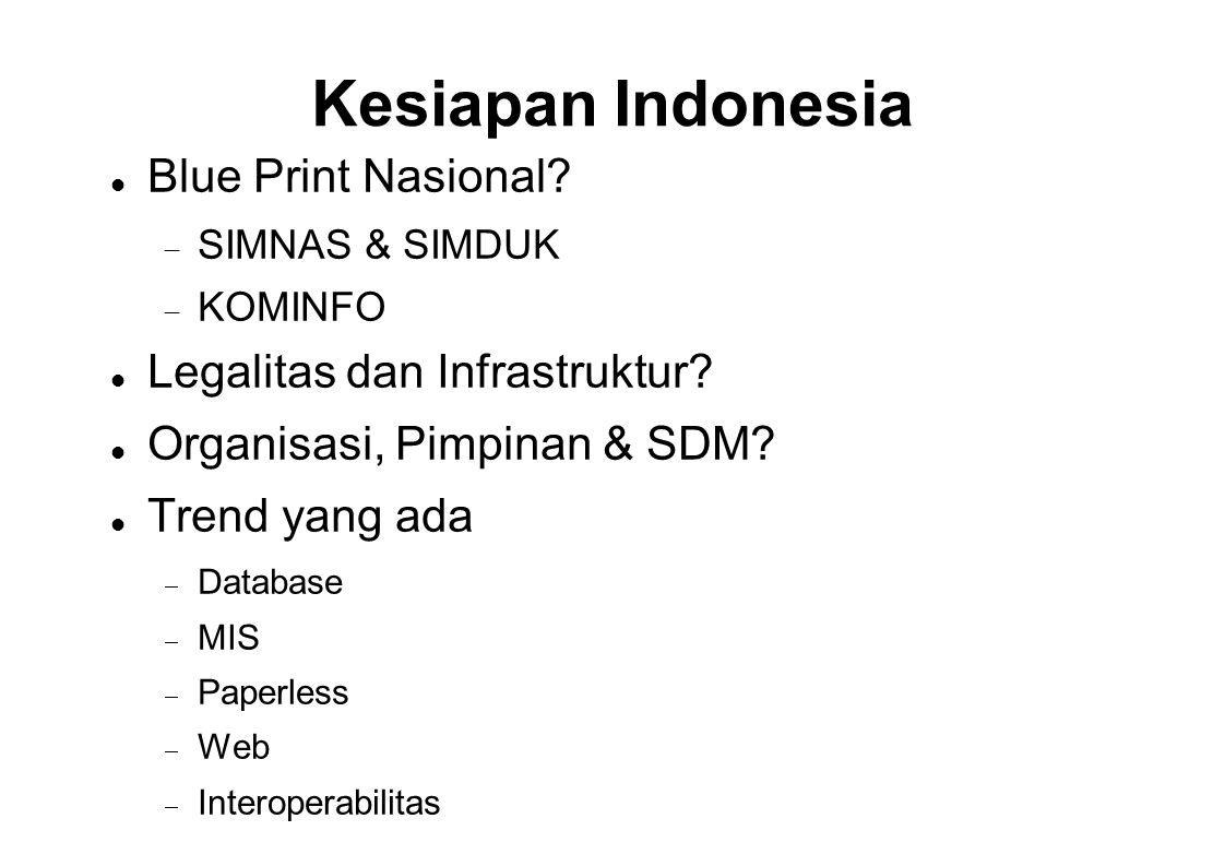 Kesiapan Indonesia  Blue Print Nasional?  SIMNAS & SIMDUK  KOMINFO  Legalitas dan Infrastruktur?  Organisasi, Pimpinan & SDM?  Trend yang ada 