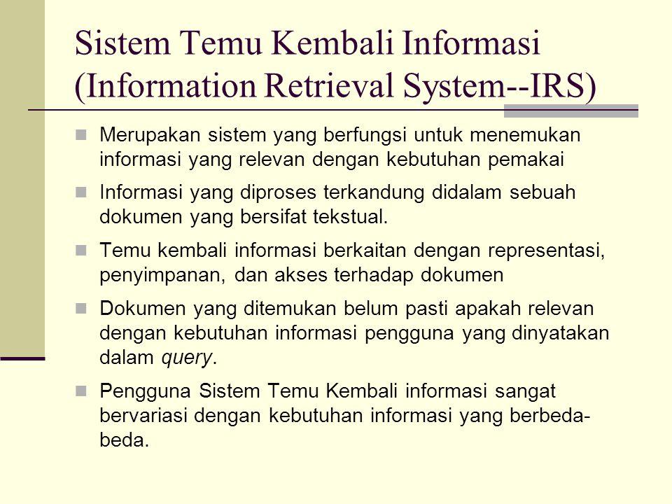 Fungsi IRS  Mengidentifikasi sumber informasi yang relevan dengan minat masyarakat pengguna yang ditargetkan.