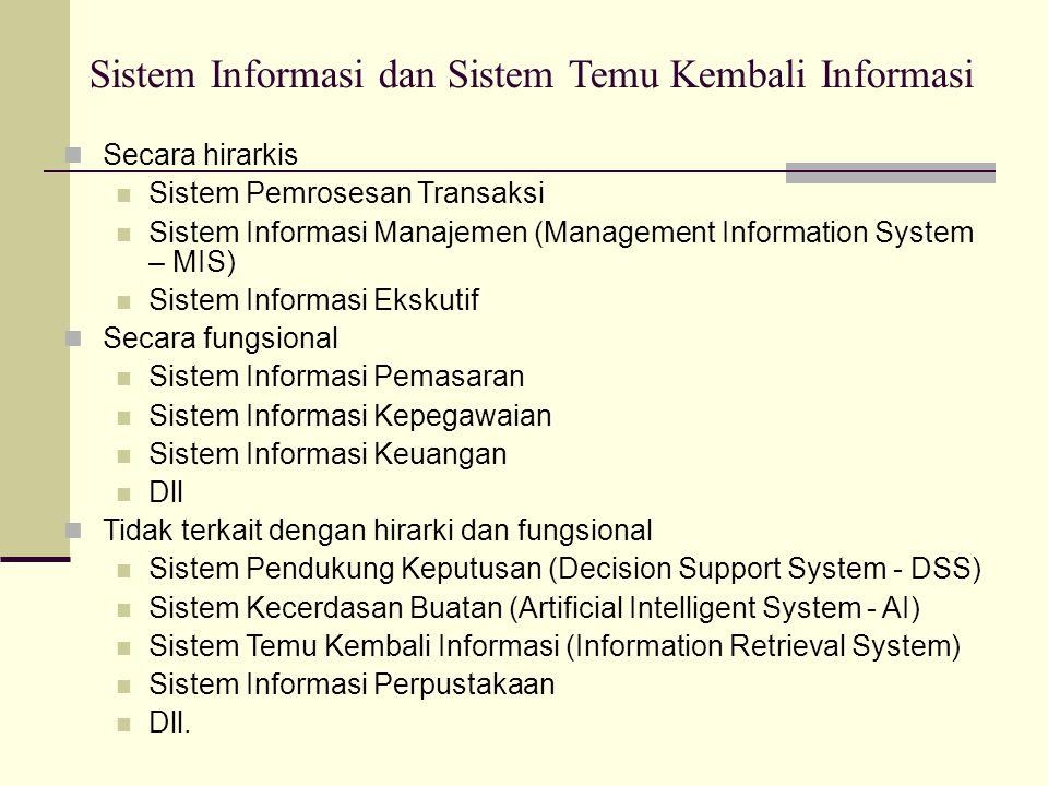 Sistem Temu Kembali Informasi adalah Salah Satu Bentuk Sistem Informasi Dengan Fungsi Khusus, yaitu: Sistem yang memproses, menyimpan, dan menemukan kembali dokumen dalam basis data koleksi dokumen berdasarkan keinginan pengguna (user)