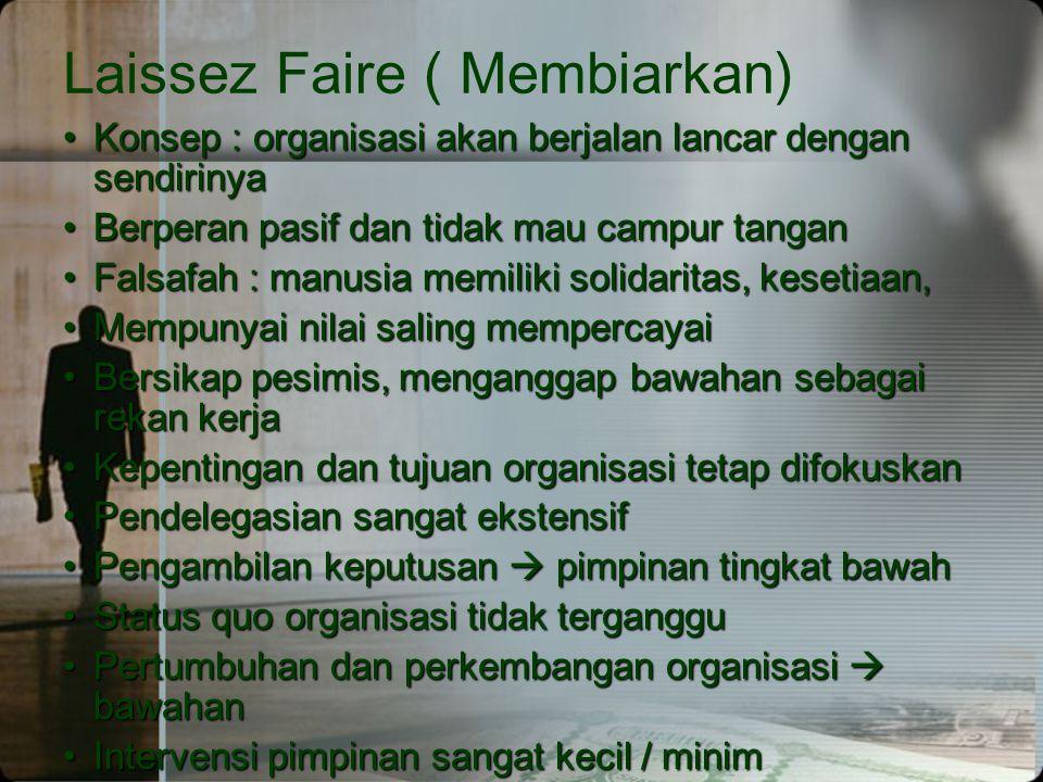 Laissez Faire ( Membiarkan) •Konsep : organisasi akan berjalan lancar dengan sendirinya •Berperan pasif dan tidak mau campur tangan •Falsafah : manusi