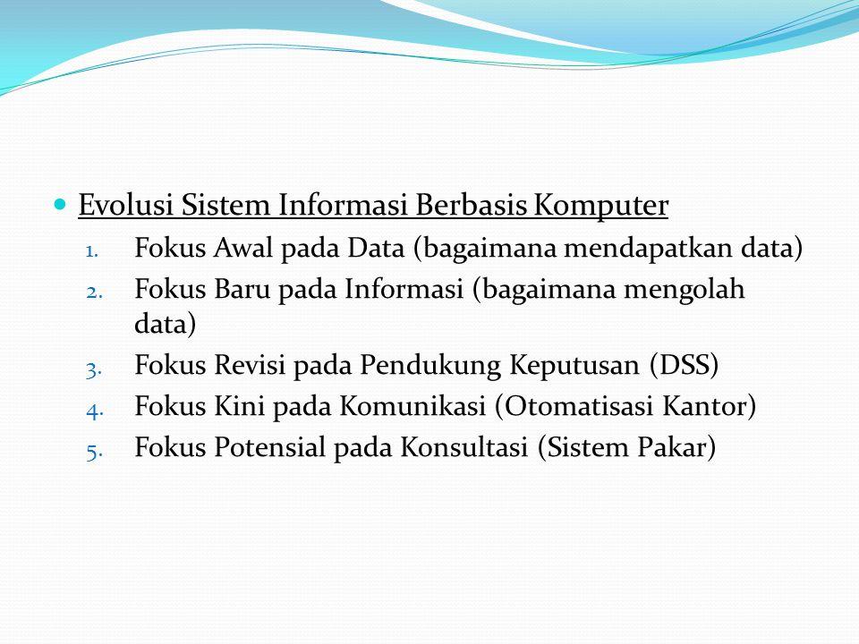  Evolusi Sistem Informasi Berbasis Komputer 1. Fokus Awal pada Data (bagaimana mendapatkan data) 2. Fokus Baru pada Informasi (bagaimana mengolah dat