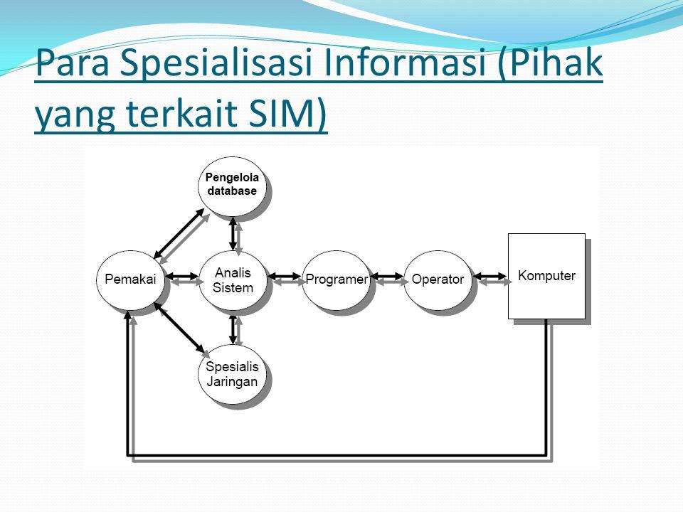 Para Spesialisasi Informasi (Pihak yang terkait SIM)