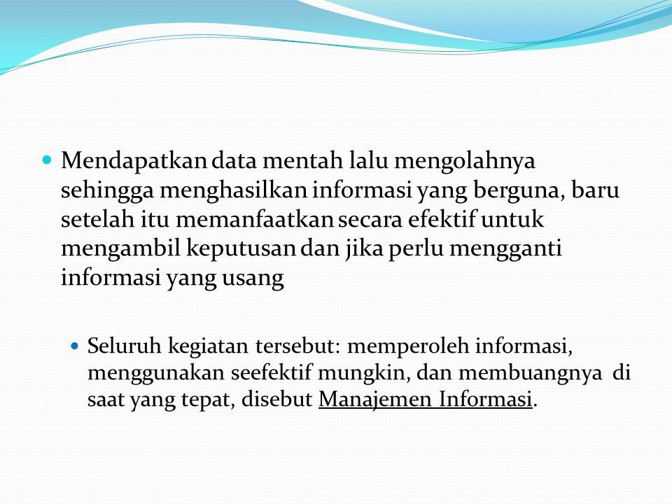 Alasan perlu diberikan perhatian pada Manajemen Informasi A.