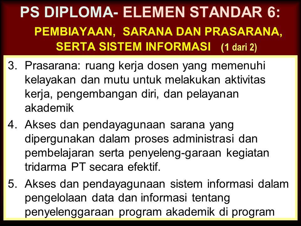 30-Jun-14 PS DIPLOMA- ELEMEN STANDAR 6: PEMBIAYAAN, SARANA DAN PRASARANA, SERTA SISTEM INFORMASI (1 dari 2) 1.Keterlibatan program studi dalam perenca