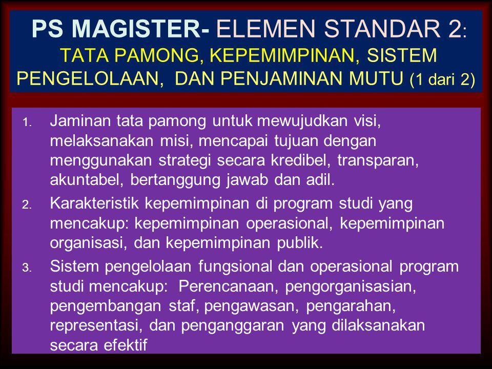 30-Jun-14 PS MAGISTER-ELEMEN STANDAR 1 : VISI, MISI, TUJUAN DAN SASARAN, SERTA STRATEGI PENCAPAIAN 1.Kejelasan, kerealistikan, dan keterkaitan antar v