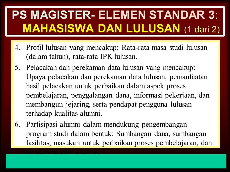 30-Jun-14 PS MAGISTER- ELEMEN STANDAR 3: MAHASISWA DAN LULUSAN (1 dari 2) 1.Ketersediaan dokumen tentang perekruten mahasiswa baru dan konsistensi pel