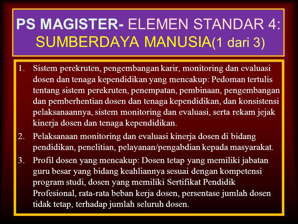 30-Jun-14 PS MAGISTER- ELEMEN STANDAR 3: MAHASISWA DAN LULUSAN (1 dari 2) 4.Profil lulusan yang mencakup: Rata-rata masa studi lulusan (dalam tahun),