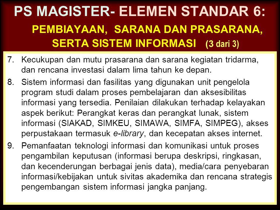 30-Jun-14 PS MAGISTER- ELEMEN STANDAR 6: PEMBIAYAAN, SARANA DAN PRASARANA, SERTA SISTEM INFORMASI (2 dari 3) 4.Keberadaan, akses, dan pendayagunaan sa