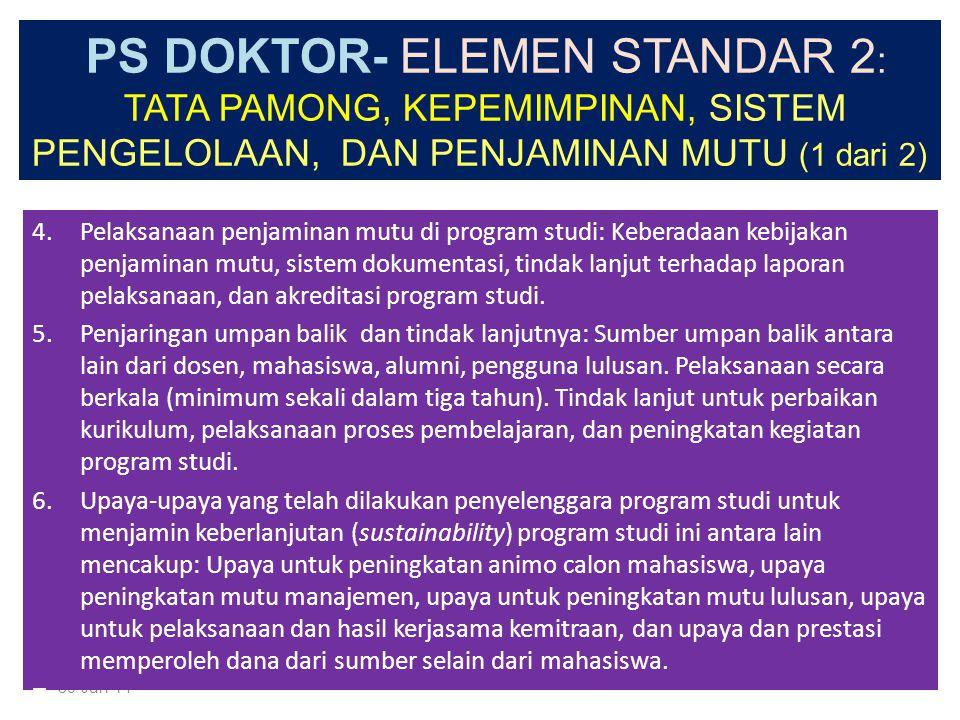 PS DOKTOR- ELEMEN STANDAR 2 : TATA PAMONG, KEPEMIMPINAN, SISTEM PENGELOLAAN, DAN PENJAMINAN MUTU (1 dari 2) 1.Tata pamong menjamin terwujudnya visi, t