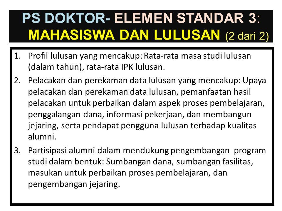 30-Jun-14 PS DOKTOR- ELEMEN STANDAR 3: MAHASISWA DAN LULUSAN (1 dari 2) 1.Ketersediaan dokumen tentang rekrutmen mahasiswa baru dan konsistensi pelaks