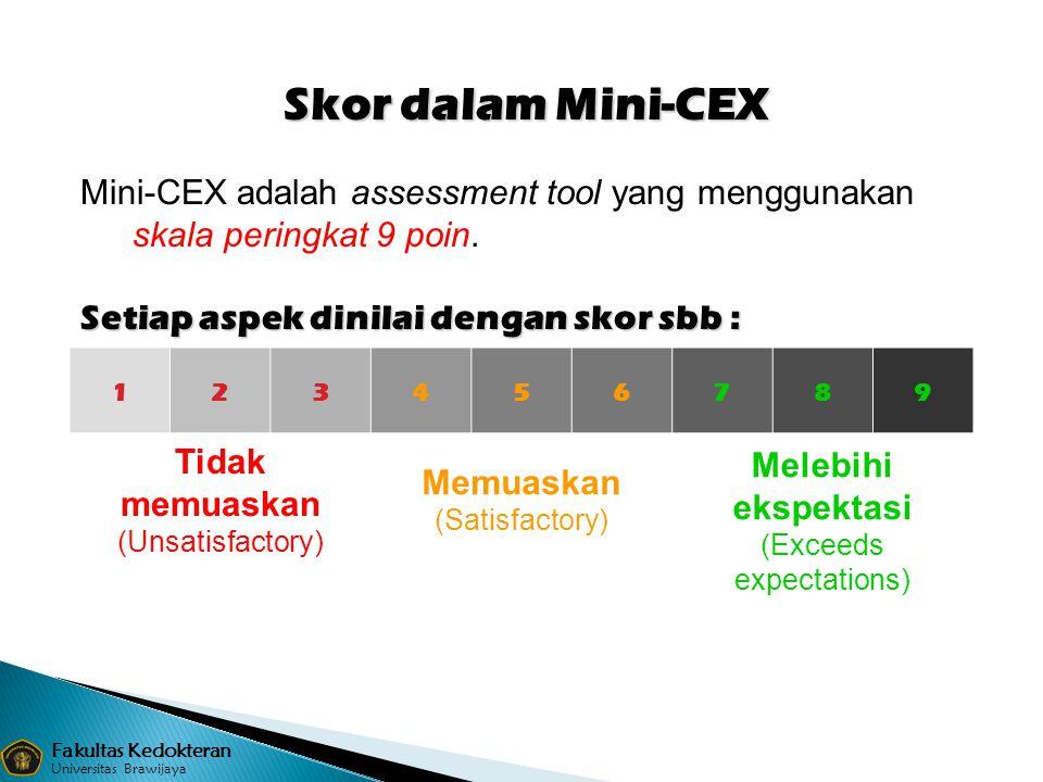 123456789 Tidak memuaskan (Unsatisfactory) Memuaskan (Satisfactory) Melebihi ekspektasi (Exceeds expectations) Mini-CEX adalah assessment tool yang me